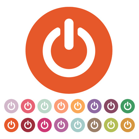 The power icon. Power symbol. Flat Vector illustration. Button Set Vettoriali