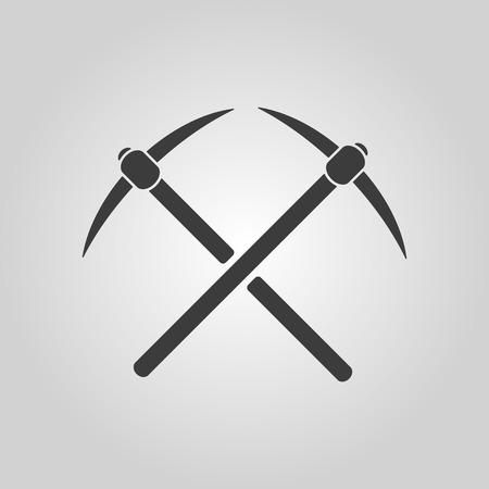 mattock: The pick icon. Pickax symbol. Flat Vector illustration