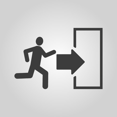 going away: The exit icon. Emergency Exit symbol. Flat Vector illustration