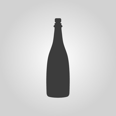 The champagne icon. Wine symbol. Flat Vector illustration