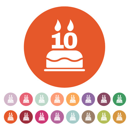 number 10: The birthday cake with candles in the form of number 10 icon. Birthday symbol. Flat Vector illustration. Button Set