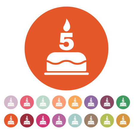number candles: The birthday cake with candles in the form of number 5 icon. Birthday symbol. Flat Vector illustration. Button Set