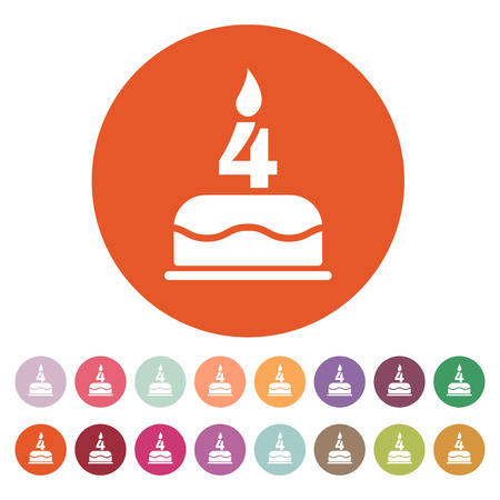 The birthday cake with candles in the form of number 4 icon. Birthday symbol. Flat Vector illustration. Button Set Vector