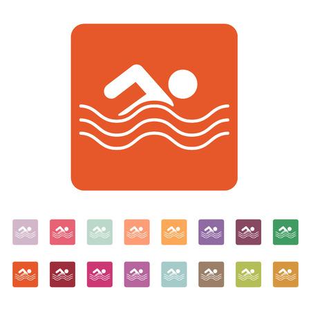 Swimming icon. Swimmer symbol. Flat Vector illustration. Button Set