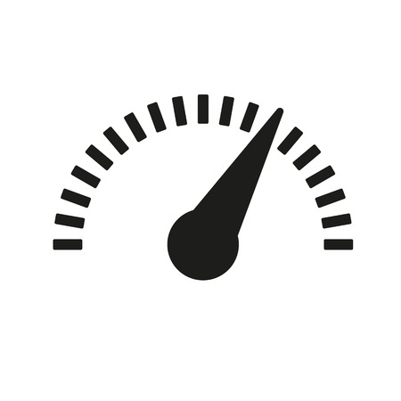 El icono del tacómetro, velocímetro e indicador. Símbolo de la medición del desempeño. Ilustración vectorial Flat Foto de archivo - 40272732