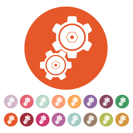 The settings icon. Gears symbol. Flat Vector illustration. Button Set