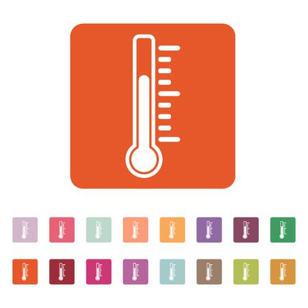 thermometer: El icono de termómetro. Símbolo de termómetro. Ilustración vectorial Flat. Botón Set
