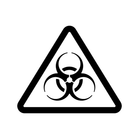 riesgo biologico: El icono de riesgo biológico. Símbolo de riesgo biológico. Ilustración vectorial Flat