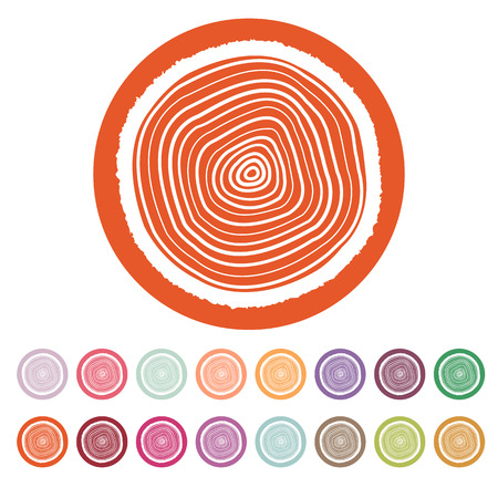 annual ring annual ring: The tree rings icon. Tree rings symbol. Flat Vector illustration. Button Set