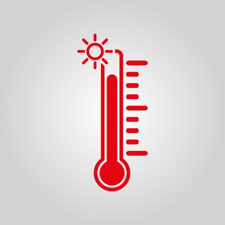 thermometer: El icono de termómetro. Alta símbolo de temperatura. Ilustración vectorial Flat
