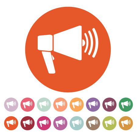 megaphone: The megaphone icon. Bullhorn symbol. Flat Vector illustration. Button Set