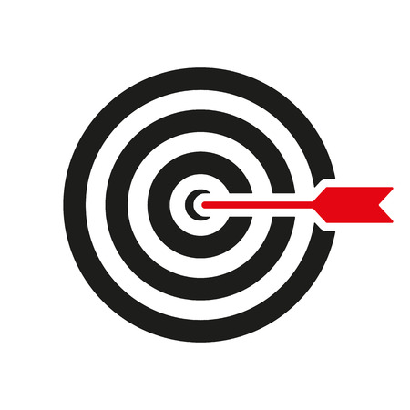 The target icon. Target symbol. Flat Vector illustration Vectores