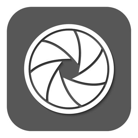 film shooting: The diaphragm icon. Aperture symbol. Flat Vector illustration. Button