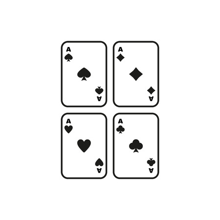 ace: The Ace icon. Playing Card Suit symbol. Flat Vector illustration. Set