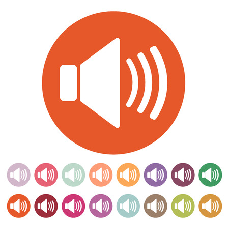 The speaker icon. Sound symbol. Flat Vector illustration. Button Set