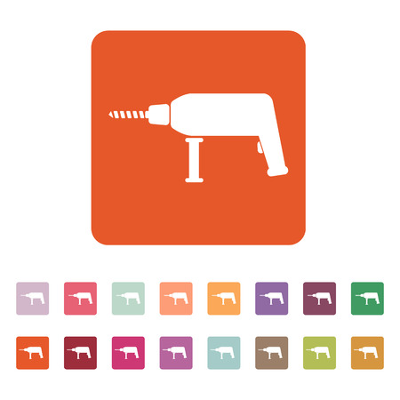 The drill icon. Perforator symbol. Flat Vector illustration. Button Set Vector