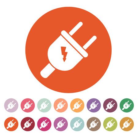 electric plug: The electric plug icon. Electric plug symbol. Flat Vector illustration. Button Set Vettoriali