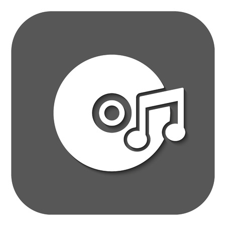 melodies: The music icon. Disc symbol. Flat Vector illustration. Button