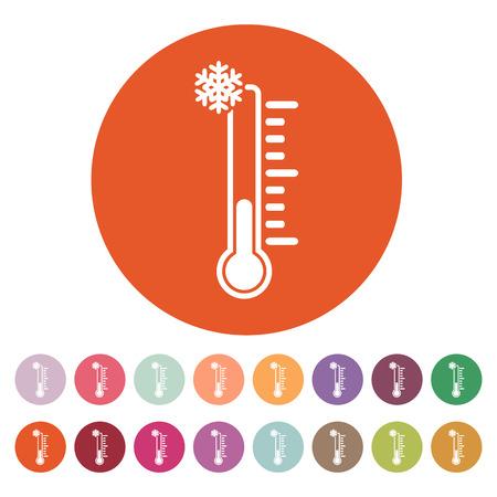 termómetro: El icono de termómetro. Símbolo de baja temperatura. Ilustración vectorial Flat. Botón Set Vectores