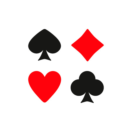 card suit: The Playing Card Suit icon. Playing Card Suit symbol. Flat Vector illustration. Set Illustration