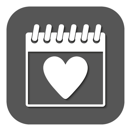 rendezvous: The calendar icon. Valentines day symbol. Flat Vector illustration. Button