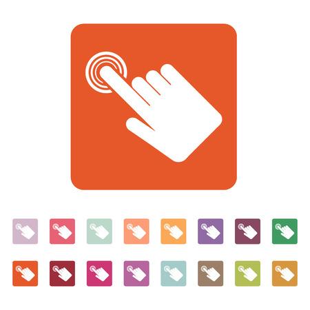 click the icon: The hand click icon. Cursor symbol. Flat Vector illustration. Button Set Illustration