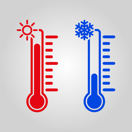 The thermometer icon. High and Low temperature symbol. Flat Vector illustration Vettoriali