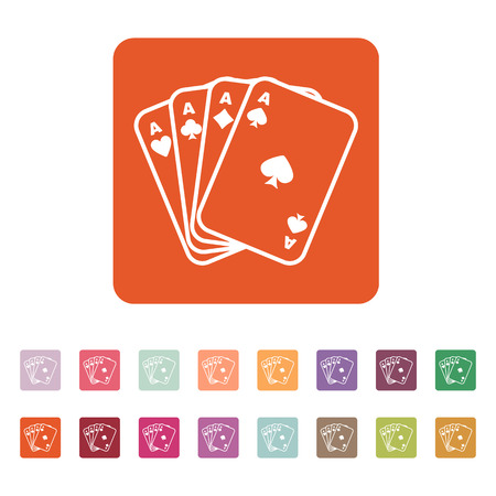 ace: The Ace icon. Playing Card Suit symbol. Flat Vector illustration. Button Set