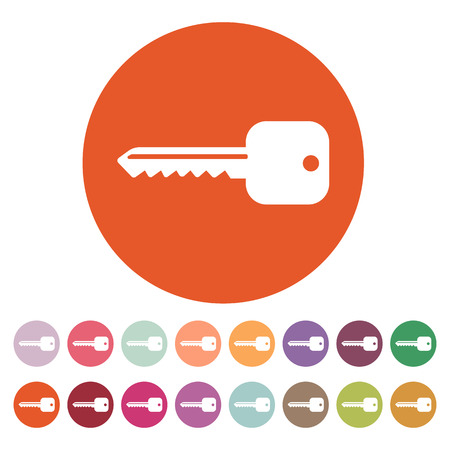 The key icon. Key symbol. Flat Vector illustration. Button Set Vettoriali