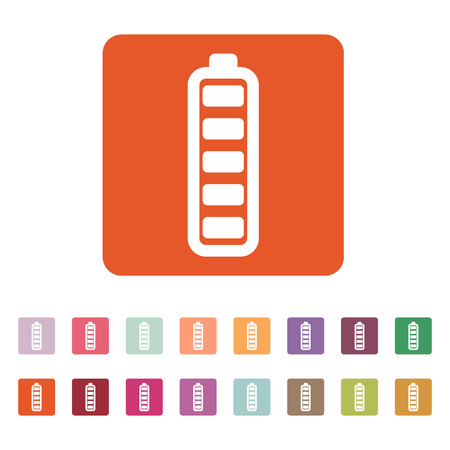 accumulator: The battery icon. Accumulator symbol. Flat Vector illustration. Button Set