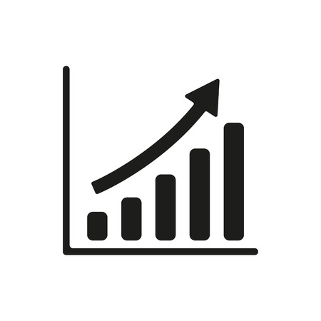 The growing graph icon. Progress symbol. Flat Vector illustration Vectores
