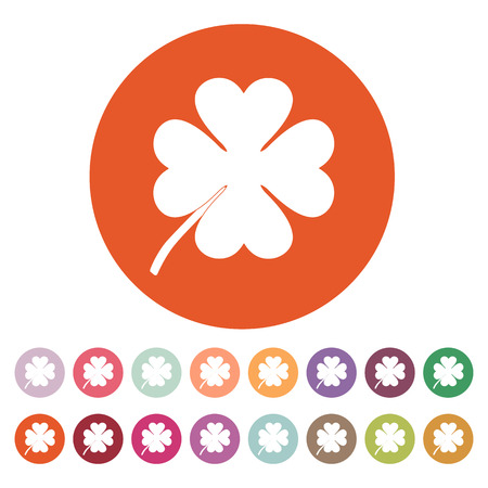 clover button: The clover with four leaves icon. Saint Patrick symbol. Flat Vector illustration. Button Set Illustration