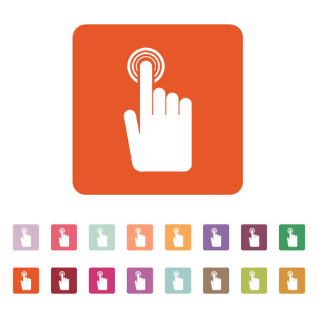 click icon: The hand click icon. Cursor symbol. Flat Vector illustration. Button Set Illustration