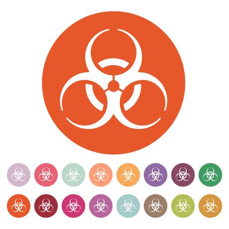 simbolo: L'icona a rischio biologico. Simbolo del rischio biologico. Piatto illustrazione vettoriale. Pulsante Imposta Vettoriali