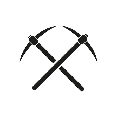pick axe: The pick icon. Pickax symbol. Flat Vector illustration