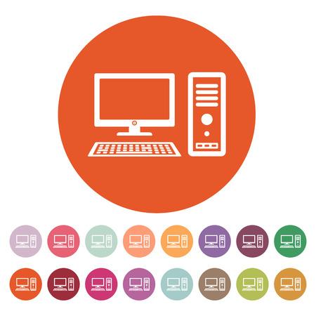 L'icona del computer. Simbolo del PC. Appartamento illustrazione vettoriale. Button Set Archivio Fotografico - 40775796