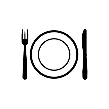 The Plate dish with fork and knife icon. Plate dish with fork and knife symbol. Flat Vector illustration Çizim