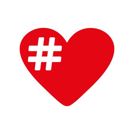 hash: The hash love icon. Hashtag heart symbol. Flat Vector illustration