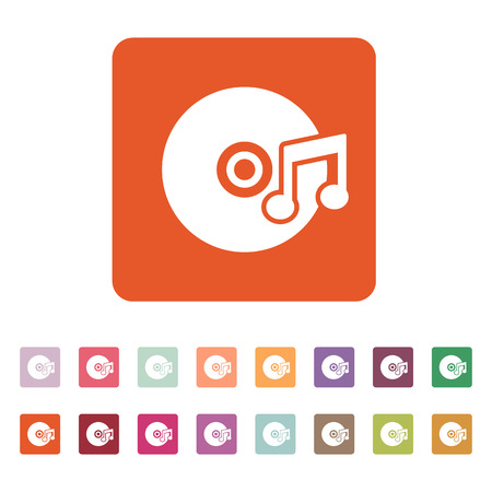 melodies: The music icon. Disc symbol. Flat Vector illustration. Button Set