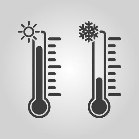 cold temperature: The thermometer icon. High and Low temperature symbol. Flat Vector illustration Illustration