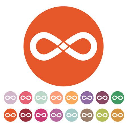 infinito simbolo: L'icona infinito. Simbolo di infinità. Appartamento illustrazione vettoriale. Button Set Vettoriali