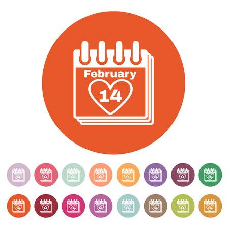 rendezvous: The calendar icon. Valentines day symbol. Flat Vector illustration. Button Set