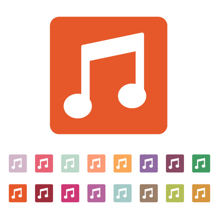melodious: The music disk icon. Musical symbol. Flat Vector illustration. Button Set