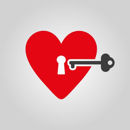 secret love: The heart and key icon. Heart and Key symbol. Flat Vector illustration Illustration