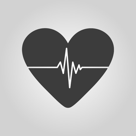 cardiogram: The heart and cardiogram icon. Heart and cardiogram symbol. Flat Vector illustration