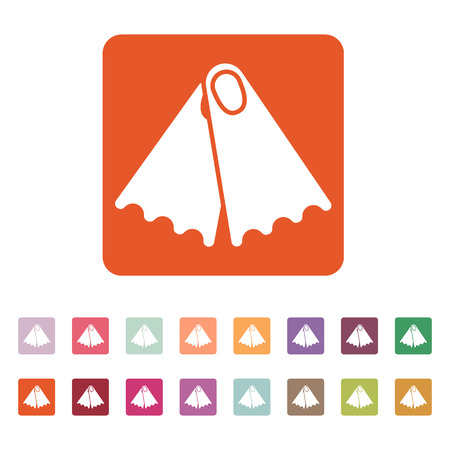 flippers: The flippers icon. Diving symbol. Flat Vector illustration. Button Set Illustration