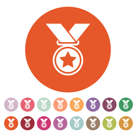 challenge: The medal icon. Prize symbol. Flat Vector illustration. Button Set