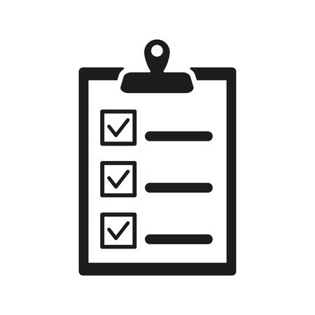 the clipboard: El icono de la lista de verificación. Símbolo Portapapeles. Ilustración vectorial Flat