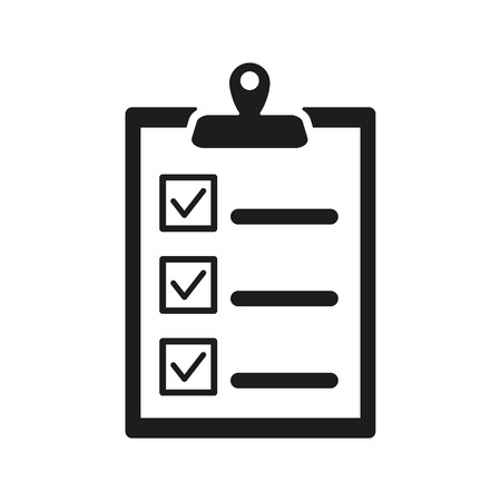 exam: The checklist icon. Clipboard symbol. Flat Vector illustration