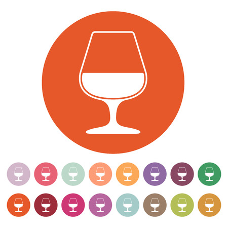 brandy: The glass with brandy icon. Brandy symbol. Flat Vector illustration. Button Set Illustration